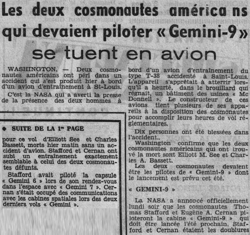 28 février 1966 décès de Charles Bassett et Elliot See 66030210