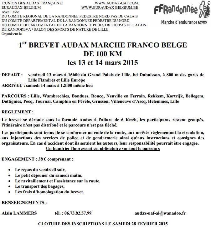 100 km Audax franco-belge; Lille; 13-14 mars 2015 Audaxf10