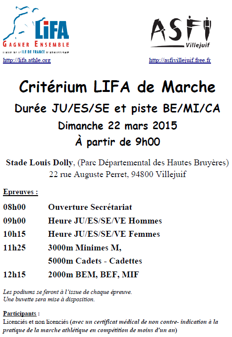 critérium de durée (1h, ...) LIFA; Villejuif: 22 mars 2015 Lifa-h10
