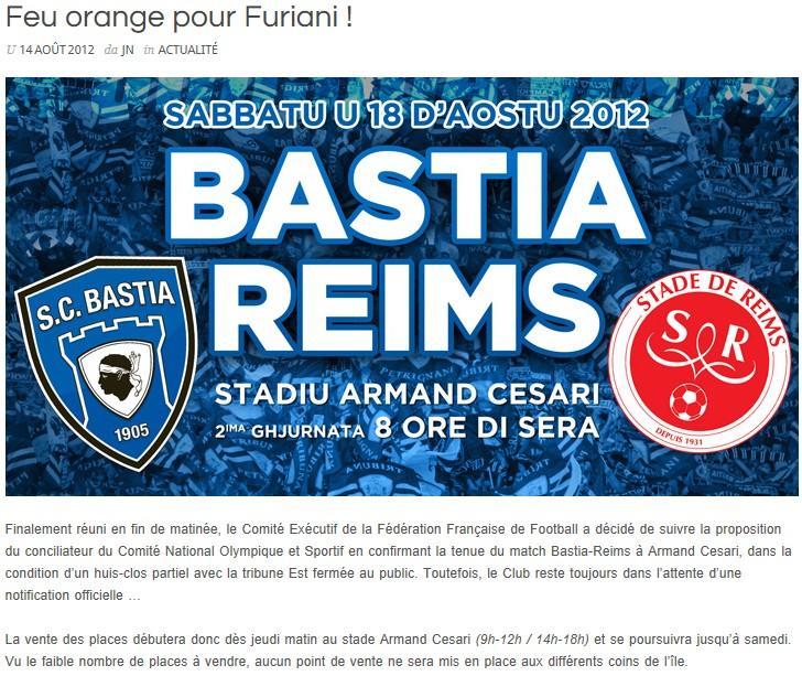 Bastia-Reims à Armand Cesari ? R10