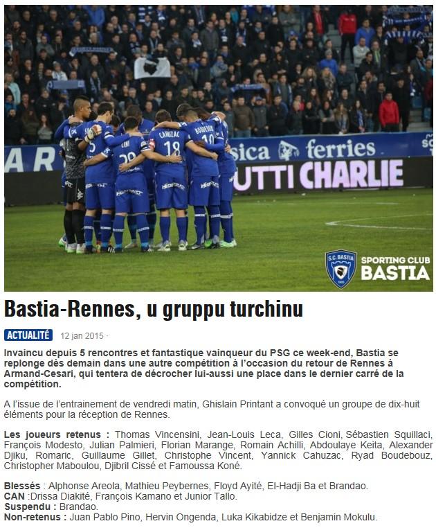 1/4CdL / Jeu des pronos - Prono Bastia-Rennes S144
