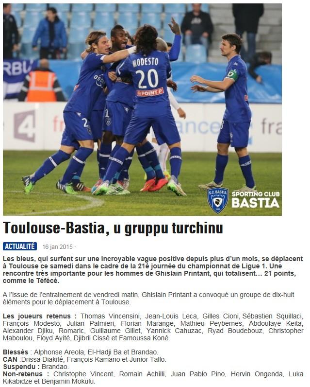 J21 / Jeu des pronos - Prono Toulouse-Bastia S154
