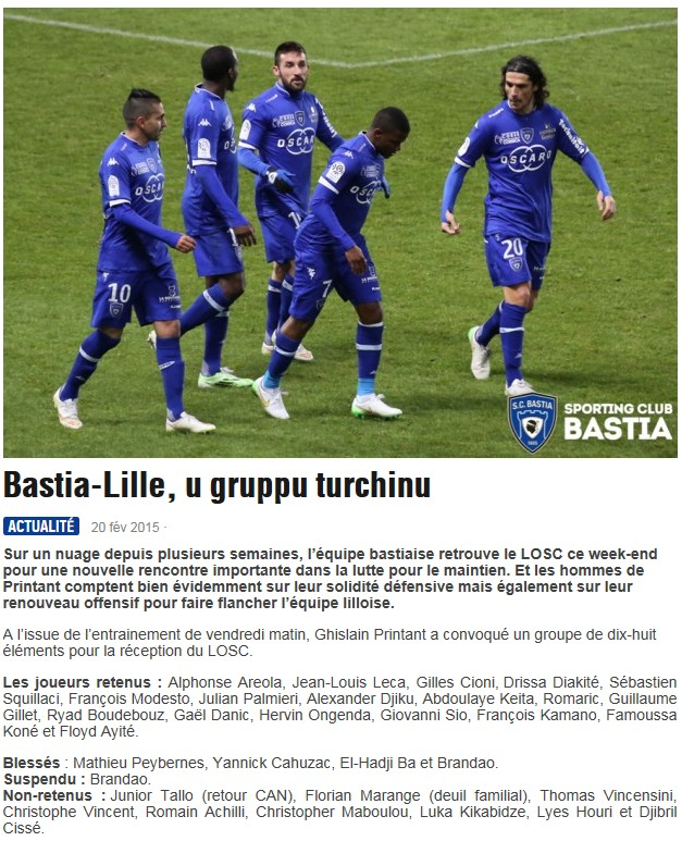 J26 / Jeu des pronos - Prono Bastia-Lille S206