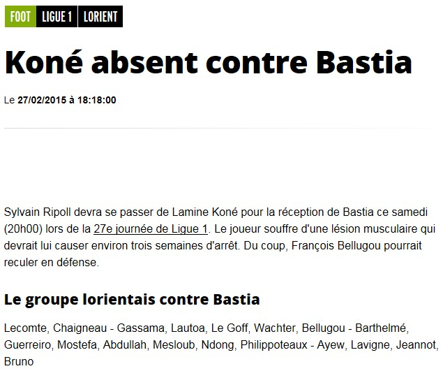 J27 / Jeu des pronos - Prono Lorient-Bastia S217