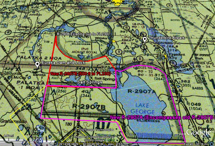 Amendments of Restricted Areas: R-2907A and R-2907B, Lake George, FL; and R-2910, Pinecastle, FL Propos12