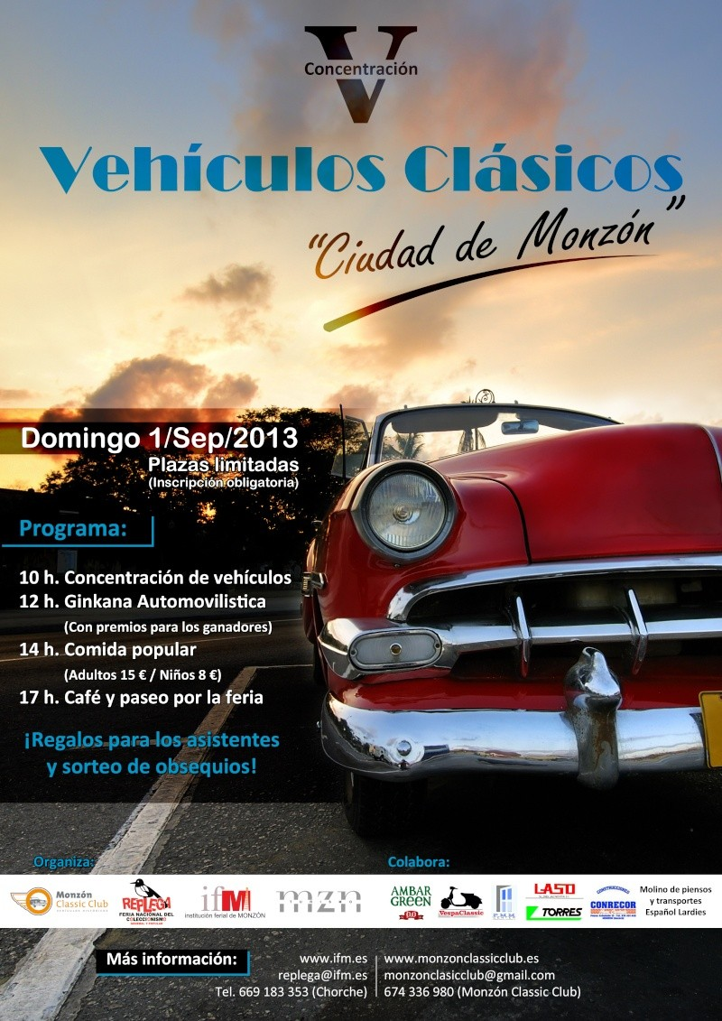"""V Concentración de Vehículos """"Ciudad de Monzón"""" 1/9/13 Cartel10"""