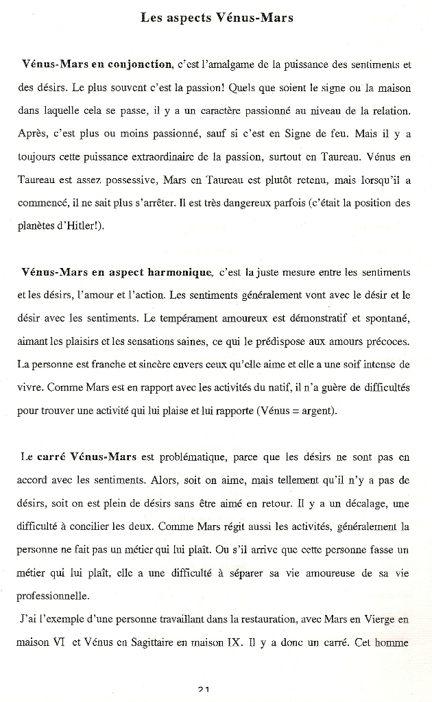Aspects majeurs Vénus-Mars natal  Aspect13