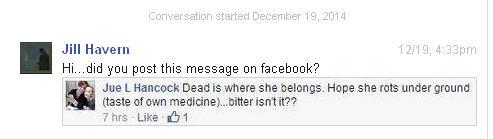 Conversation with Pamela Gurney and Jue L Hancock on Facebook regarding Brenda Leyland Jue210