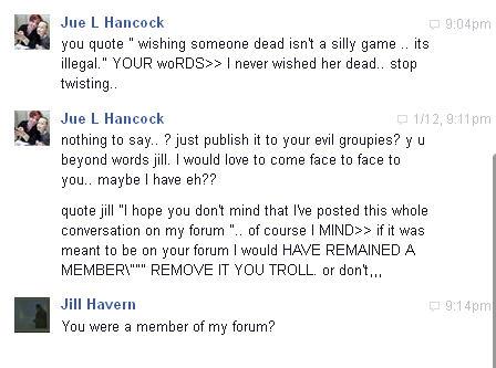Conversation with Pamela Gurney and Jue L Hancock on Facebook regarding Brenda Leyland Pg1110
