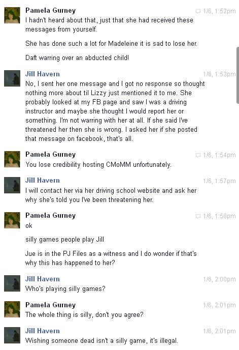 Conversation with Pamela Gurney and Jue L Hancock on Facebook regarding Brenda Leyland Pg210