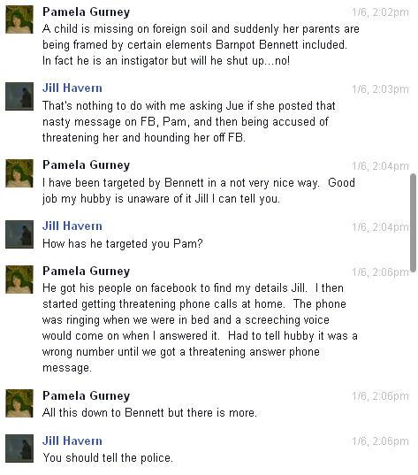 Conversation with Pamela Gurney and Jue L Hancock on Facebook regarding Brenda Leyland Pg310