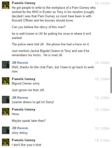 Conversation with Pamela Gurney and Jue L Hancock on Facebook regarding Brenda Leyland Pg410