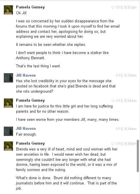 Conversation with Pamela Gurney and Jue L Hancock on Facebook regarding Brenda Leyland Pg610