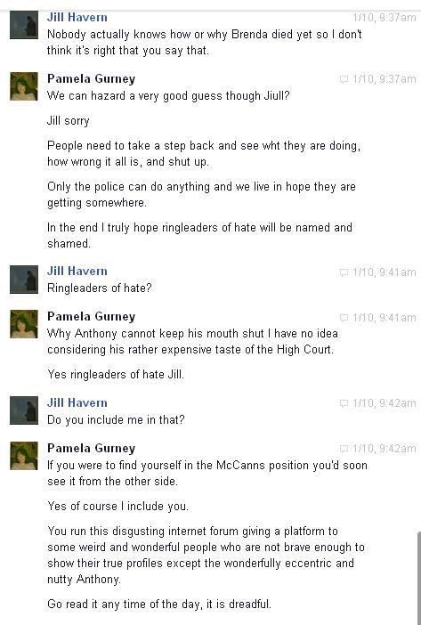 Conversation with Pamela Gurney and Jue L Hancock on Facebook regarding Brenda Leyland Pg710
