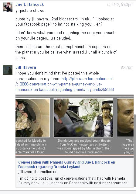 Conversation with Pamela Gurney and Jue L Hancock on Facebook regarding Brenda Leyland Pg810