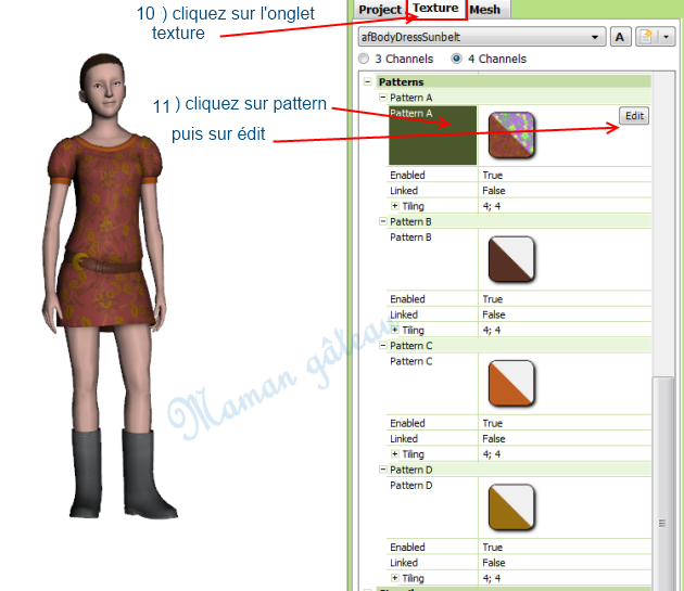 [Apprenti] TSR Workshop : voir ce que donne  sur un vêtement ou un objet du jeu  le motif que vous venez de créer avec TSR avant de l'exporter  0411