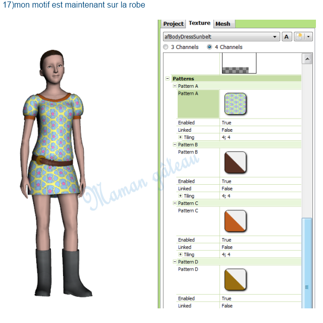 [Apprenti] TSR Workshop : voir ce que donne  sur un vêtement ou un objet du jeu  le motif que vous venez de créer avec TSR avant de l'exporter  0910