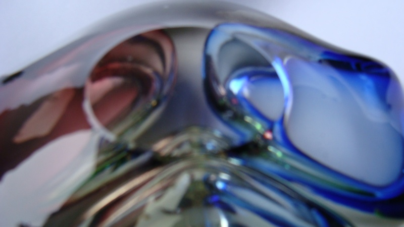 Heavy Glass Ashtray - blue/green/red Glass_11