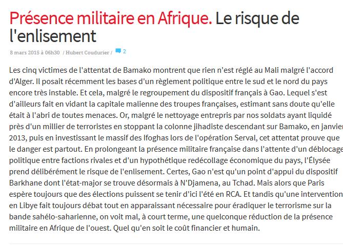 Présence militaire en Afrique... l'enlisement ? 2015-032