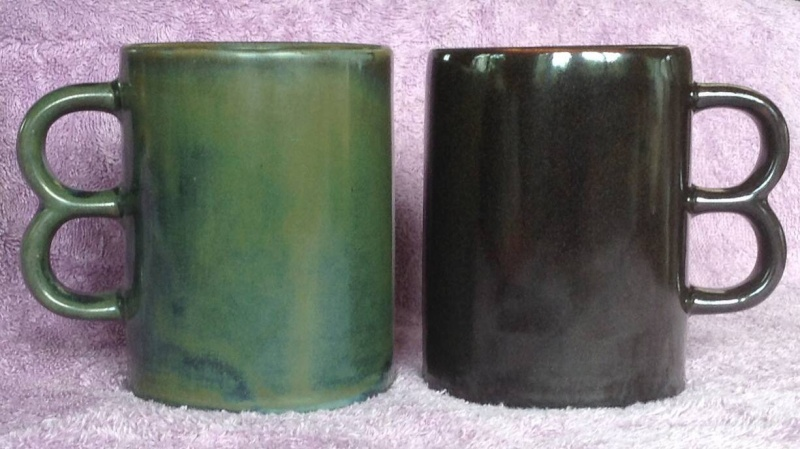 Double Handle Mugs - Basalt and Lucow from CL and a likely Teal 106410
