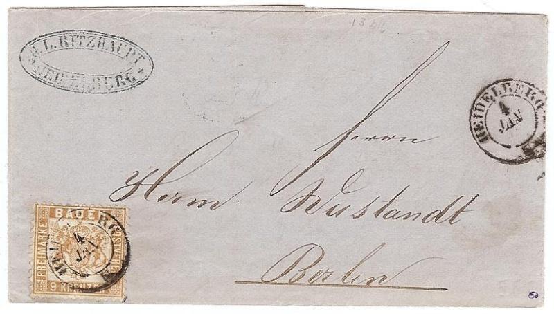 BADEN, 9 Kreuzer braun von 1862 20ba_h11