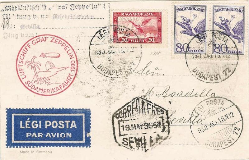 Südamerikafahrt 1930, Post nach Sevilla 57_i_u10