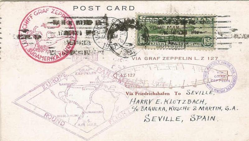 Südamerikafahrt 1930, Post nach Sevilla 64_aii10
