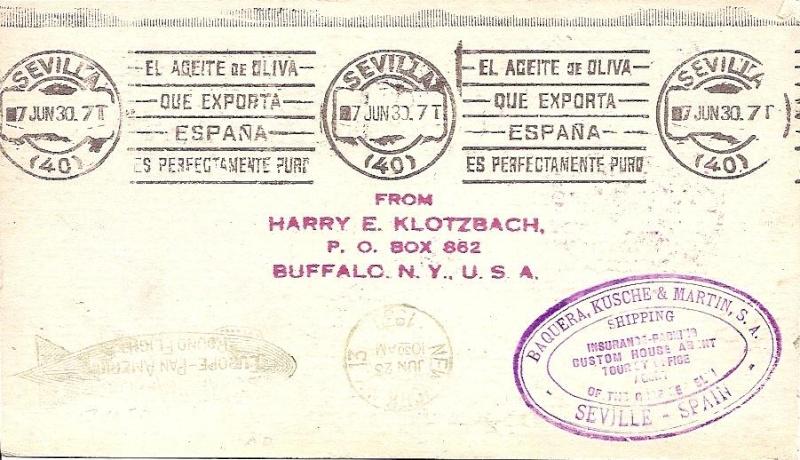 Südamerikafahrt 1930, Post nach Sevilla 64_aii11