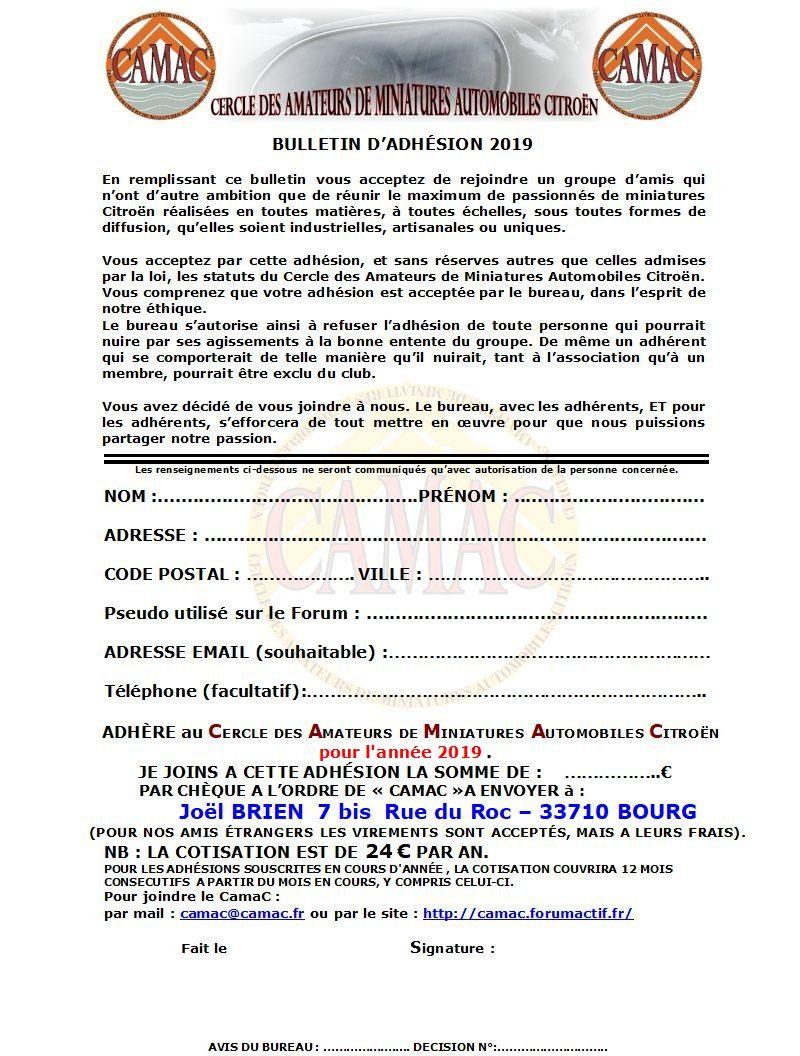 Nouveau bulletin d'adhésion CamaC ... 2019-b10