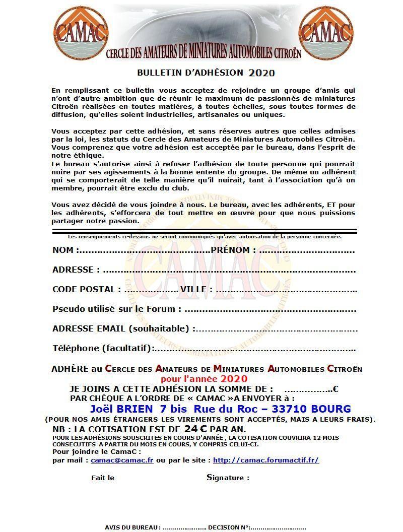 Nouveau bulletin d'adhésion CamaC ... 2020-b11