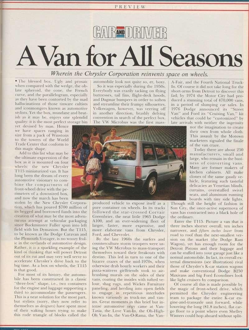 """Magazine """"Car and Driver"""" de mai 1983 avec le premier essai du Voyager! Img_2012"""