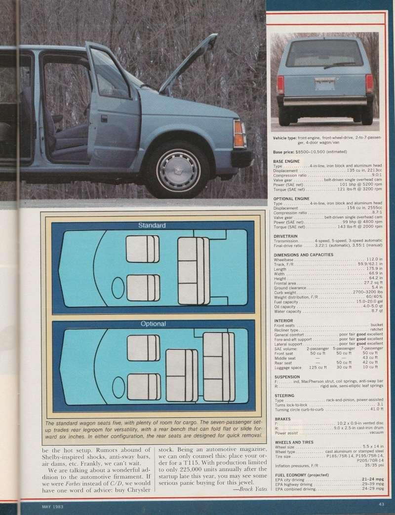 """Magazine """"Car and Driver"""" de mai 1983 avec le premier essai du Voyager! Img_2016"""