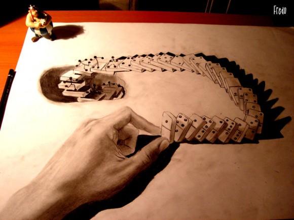 أعمال فنية مدهشة بورقة وقلم رصاص!! : فن الرسم ثلاثي الأبعاد للفنان فريدو 1012