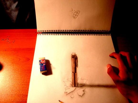 أعمال فنية مدهشة بورقة وقلم رصاص!! : فن الرسم ثلاثي الأبعاد للفنان فريدو 3012