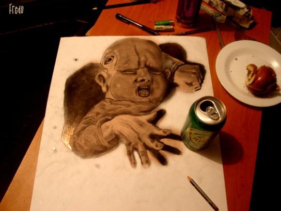 أعمال فنية مدهشة بورقة وقلم رصاص!! : فن الرسم ثلاثي الأبعاد للفنان فريدو 4011