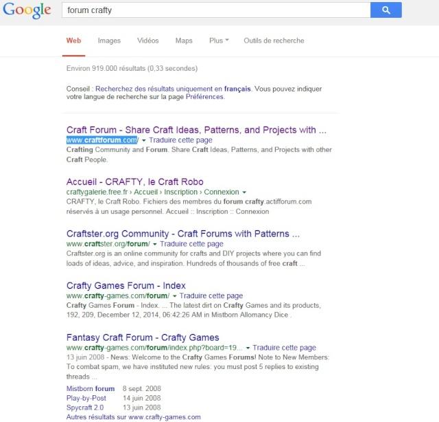 """Recherche """"Crafty"""" sur Google ... Recher10"""