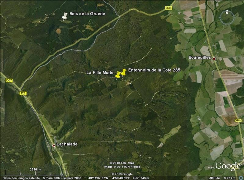 """Vestiges de la """"guerre des mines"""" (Première Guerre Mondiale) visibles dans Google Earth Cote_210"""
