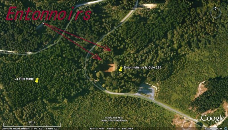 """Vestiges de la """"guerre des mines"""" (Première Guerre Mondiale) visibles dans Google Earth Cote_211"""