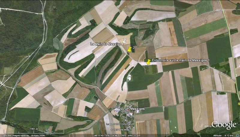"""Vestiges de la """"guerre des mines"""" (Première Guerre Mondiale) visibles dans Google Earth Entonn15"""