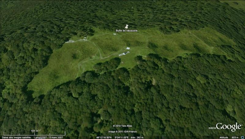 """Vestiges de la """"guerre des mines"""" (Première Guerre Mondiale) visibles dans Google Earth Entonn16"""