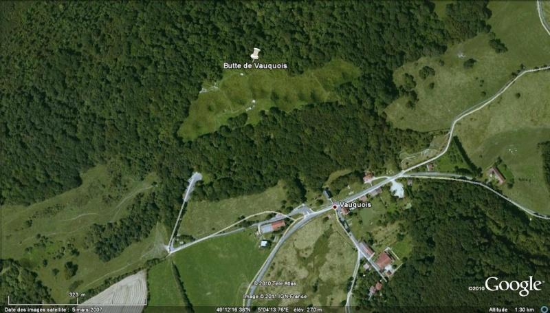 """Vestiges de la """"guerre des mines"""" (Première Guerre Mondiale) visibles dans Google Earth Entonn17"""