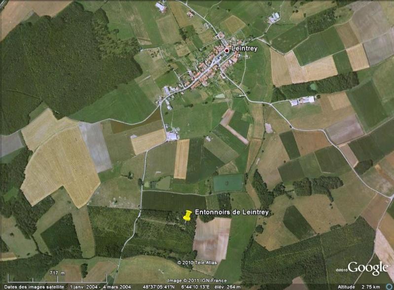 """Vestiges de la """"guerre des mines"""" (Première Guerre Mondiale) visibles dans Google Earth Entonn19"""