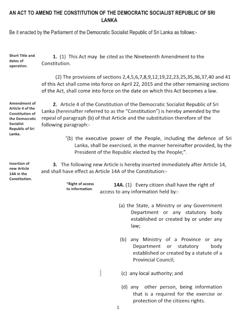 Exclusive - 19th Amendment to the Constitution of Sri Lanka Screen37