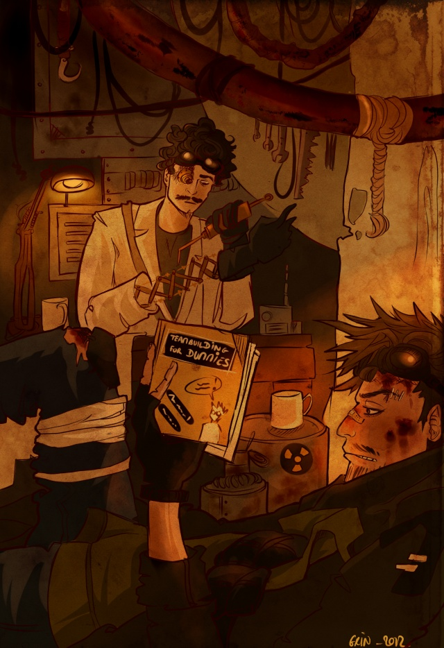 [ Dessin ] Henry et le visiteur dans leur bat-cave ... heu, leur cave, quoi.  Vdf14