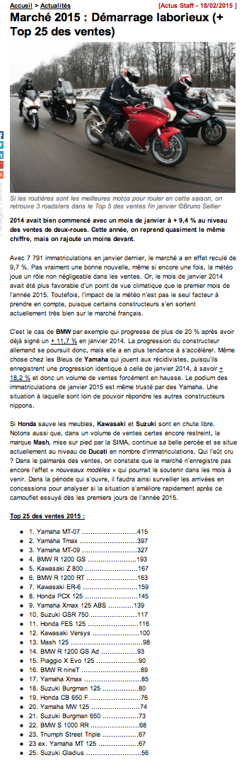 Top 2014 des 50 meilleures ventes de motos en France Captur11