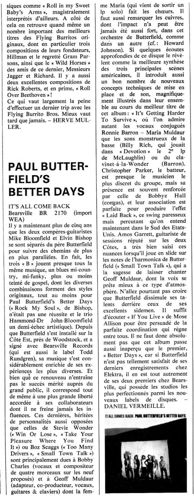 Paul Butterfield's Better Days: It's all come back R85-7410