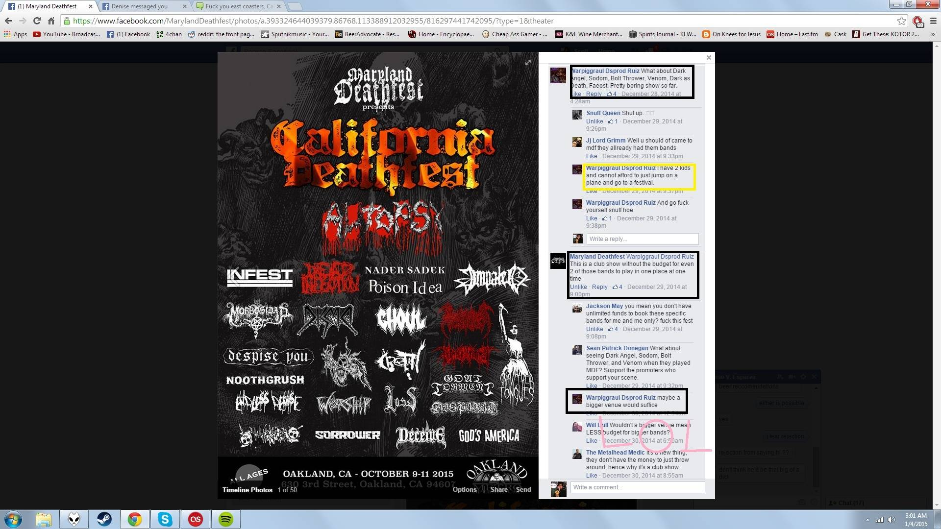Fuck you east coasters, California Deathfest next year Metal_11