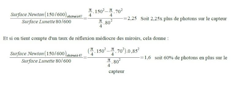 Temps de pose en fonction du F/D Calcul10