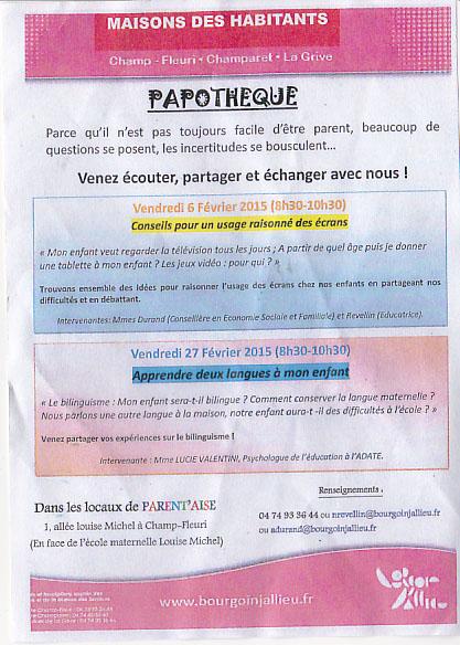"""Discussion """"apprendre 2 langues à mon enfant"""" parents/professionnels - 27 février à BJ Papoth11"""