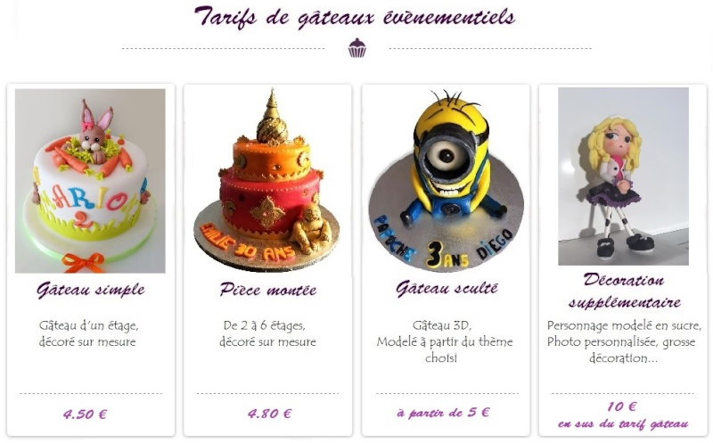 Création coupe de gâteau Tarifs10